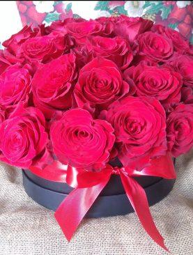 Elegantný box červených ruží