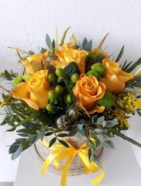 Box žltých ruží