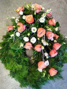 Smútočný veniec - Marhuľové ruže